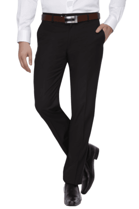 LOUIS PHILIPPE Mens Flat Front Slim Fit Solid Formal Trousers