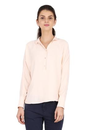Womens Collared Solid Top