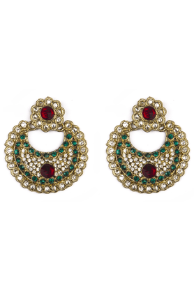 TRIBAL ZONECrescent Shaped Ethnic Earring With Kundan And Green Glass Beads And Pink Central Bead