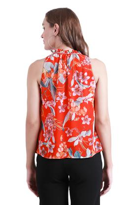 Womens Ruffled Collar Floral Print Top