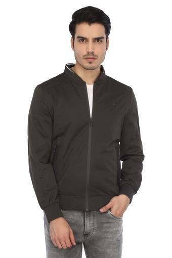 Mens Zip Through Neck Self Printed Jacket