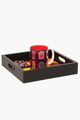 THE ELEPHANT COMPANY Square Printed Tray And Cup And Coasters Combo