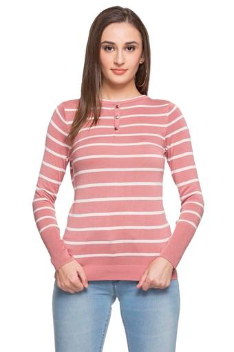 Womens Round Neck Stripe Knitted Sweater