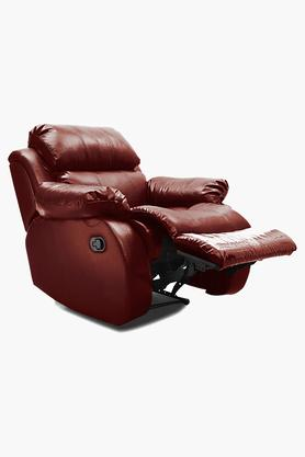 Garnet Cherry Leatherette Recliner Sofa