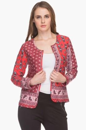HAUTE CURRY Womens Round Neck Quilted Printed Koti