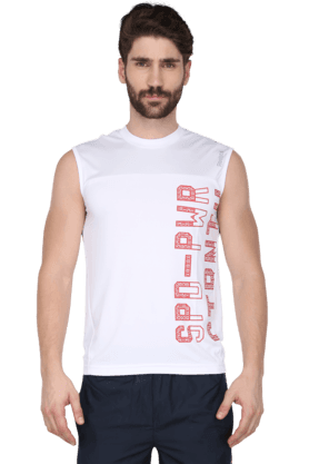 Mens Round Neck Solid Sleeveless T-Shirt