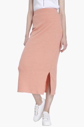 VERO MODAWomens Solid Side Slitted Long Skirt