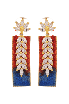 TUAN Gold Plated Leaf Shaped Colorful Dangle Earring For Women -IER-833-Red