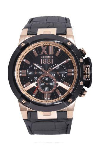 Mens Black Dial Leather Chronograph Watch - CRA145SRB02BK