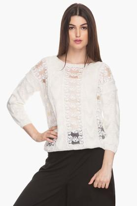 Womens Round Neck Lace Sweater