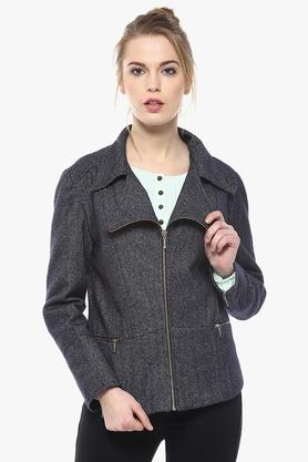 Womens Collared Solid Winter Jacket