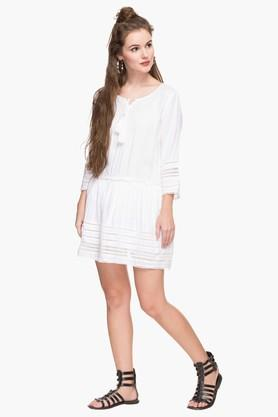 Womens Tie Up Neck Solid Embroidered Drop Waist Dress