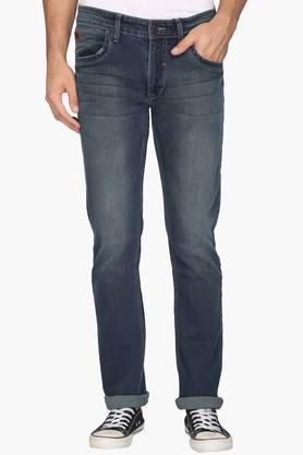 WROGN Mens Slim Fit 5 Pocket Heavy Wash Jeans  ...