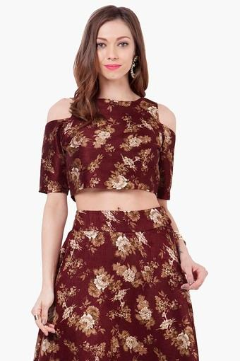 3ccfc710354 Buy INDYA Womens Round Neck Printed Crop Top | Shoppers Stop