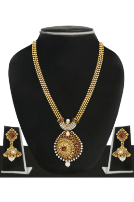 ZAVERI PEARLS Womens Gold Plated Long Necklace Set - 200929034