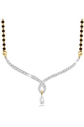 SPARKLES 18Kt Gold Mangalsutra With Diamond Pendant Along With Gold Plated Silver Chain And Black - 7502698_9999