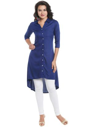 STOP Womens Collared Solid High Low Shirt Kurta