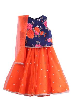 Girls Round Neck Printed Lehenga Choli and Dupatta Set
