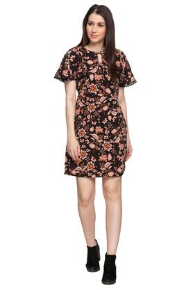 Womens Tie Up Neck Floral Printed Shift Dress