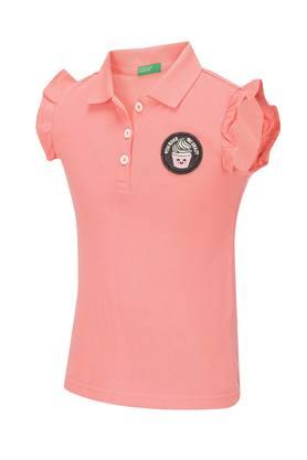 Girls Solid Polo Tee