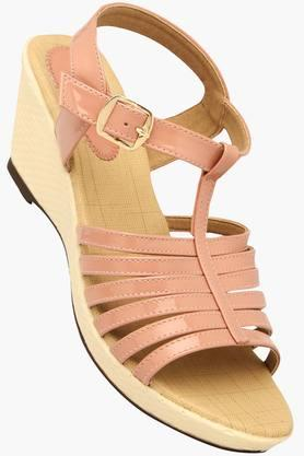 LIFE Womens Casual Ankle Buckle Closure Wedge Sandal