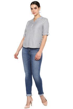 Womens Mandarin Collar Striped Top