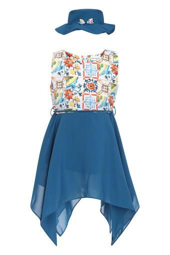 Girls Round Neck Printed Asymmetrical Dress
