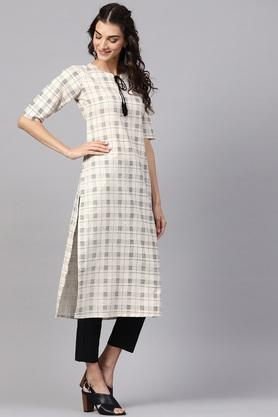 Womens Straight Fit Tie Up Neck Check Kurta