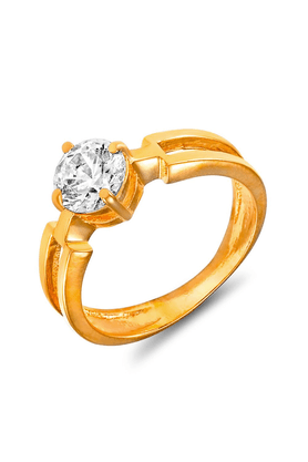 MAHI Mahi Gold Plated Bold Vogue Solitaire Ring With Swarovski Zirconia For Women FR1105006G