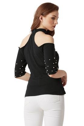 Womens Off Shoulder Neck Pearl Detailing Choker Top