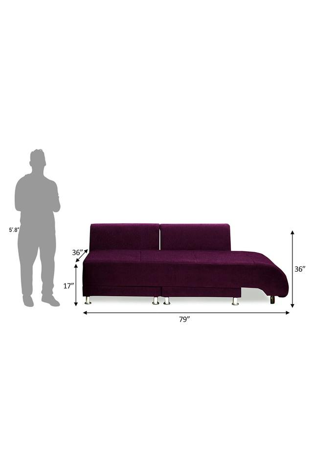 Dark Berry Fabric Sectional Sofa Bed (3 - Seater)