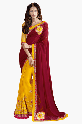 DEMARCA Womens Embroidered Saree - 201151726