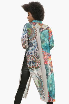 Womens Collared Printed Long Shirt