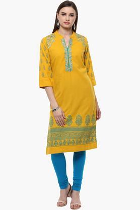 RANGRITIWomens Mandarin Neck Embroidered Kurta (Plus Size)