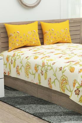 Marvella Floral Print Double Bed Sheet with 2 Pillow Covers