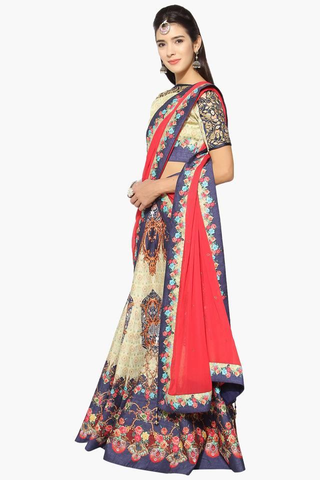 b0ddccd8ee915e ... Womens Semi Stitched Boat Neck Printed Zari Embroidered Lehenga Choli  ...