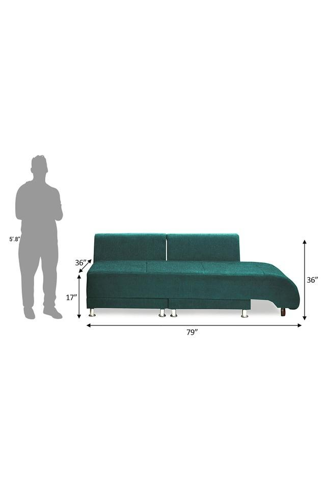 Calypso Green Fabric Sectional Sofa Bed (3 - Seater)