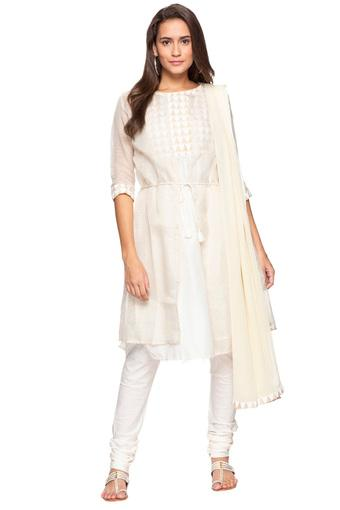 Womens Round Neck Check Churidar Suit