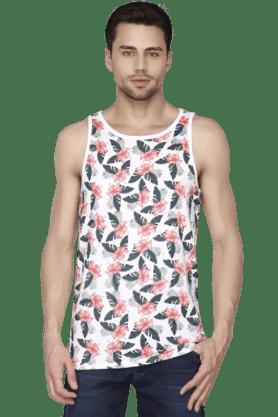 Mens Sleeveless Round Neck Slim Fit Printed T-Shirt