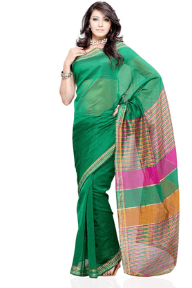 DEMARCA De Marca Green Cotton Designer DF-186E Saree