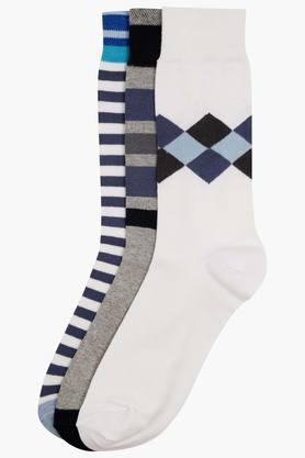 STOPMens Stripe And Printed Socks Pack Of 3