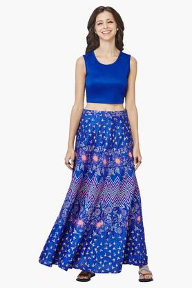 Women's Solid Top And Floral Skirt Set
