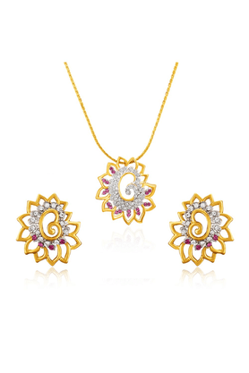 MAHI Mahi Gold Plated Pink Shimmering Dahlia Flower Pendant Set Made With Swarovski Elements For Women NL1104126GWhiPin