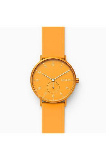 Unisex Aaren Kulor Yellow Dial Silicone Analogue Watch - SKW6510