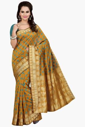 ISHIN Womens Embroidered Gold Woven Kora Saree
