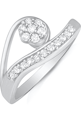 MAHI Mahi Rhodium Plated Beckoning Arc Finger Ring With CZ For Women FR1100615R