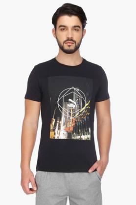 PUMAMens Short Sleeves Round Neck Printed T-Shirt - 201583845