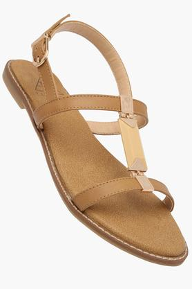 FEMINA FLAUNTWomens Daily Wear Ankle Buckle Closure Flat Sandals