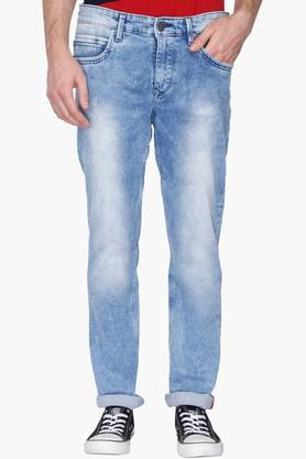 LOUIS PHILIPPE JEANS Mens Slim Fit Stone Wash Jeans (Matt Fit)