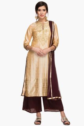 KASHISH Womens Mandarin Neck Embroidered Palazzo Suit  ...